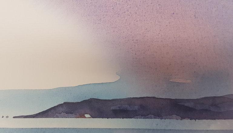 En akvarell föreställande en udde vid havet.