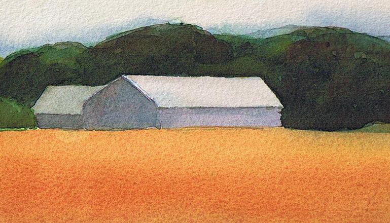 Akvarellmålning föreställande ett hus vid en veteåker.